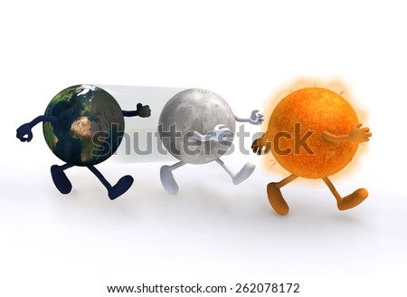 the world, the moon and the sun, eclipse concept, 3d illustration. Elements of this image furnished by NASA - stock photo