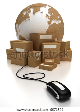 The world with a heap of packages connected to a mouse - stock photo