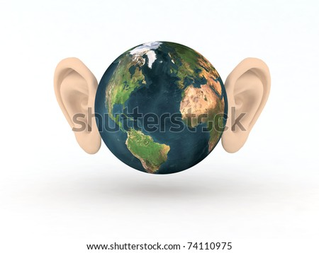 the world with two large ears 3d illustration - stock photo