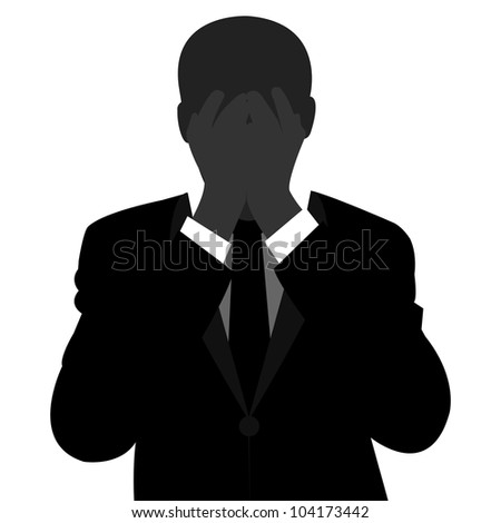 The Worried Businessman Isolated on White Background - stock photo
