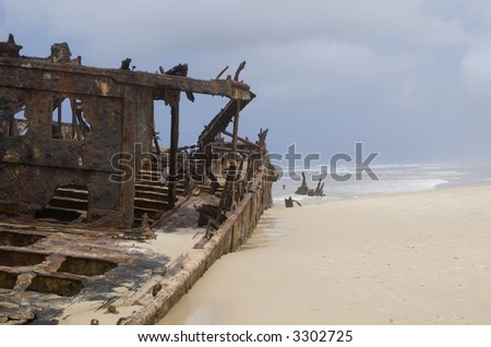 "The wreck of the ""Maheno"" is one of the points of interest on world heritage site Fraser Island - stock photo"