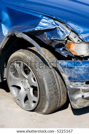 The Wrecked Car. Front of damaged auto. - stock photo