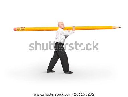 The writer or journalist carries big yellow pencil. - stock photo