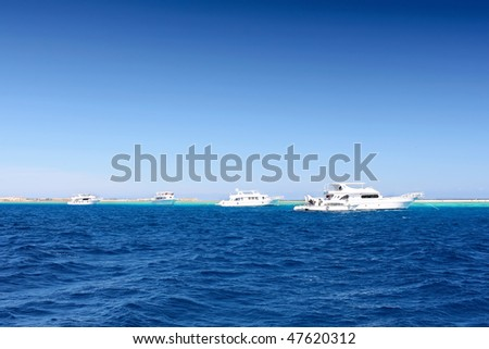 The Yachts in the Red Sea. Egypt.