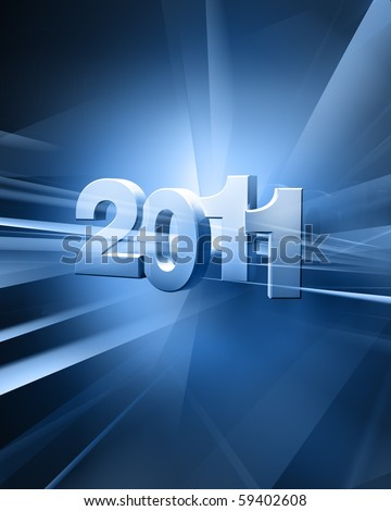 The year 2011 in digits in an abstract futuristic background - stock photo