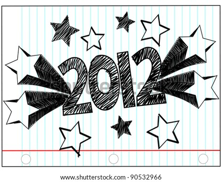 The Year 2012 in Hand Drawn letters with Stars  Vector Available
