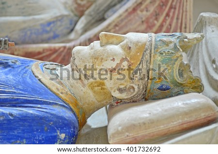 The 800 year old effigy and tomb of King Henry II of England in Fontevraud Abbey - stock photo