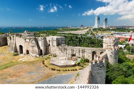 The Yedikule Fortress in Istanbul, Turkey. Yedikule fortress, or Castle of Seven Towers, is the famous fortress built by Sultan Mehmed II in 1458. - stock photo