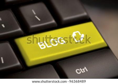 the yellow blog enter button key - stock photo