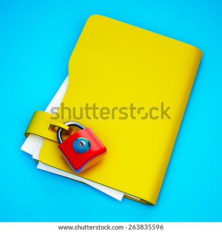 The yellow folder with hinged lock images - stock photo
