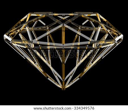 The yellow geometrical shape of the diamond lattice, clipping path - stock photo