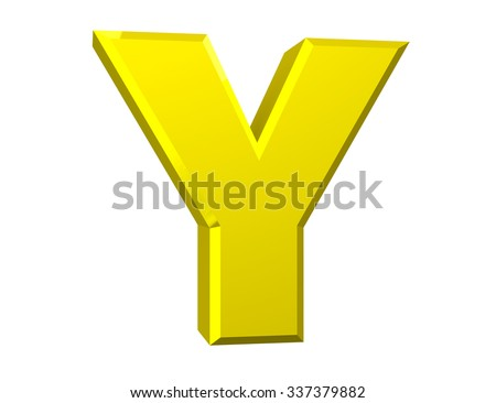 the yellow letter Y on white background 3d rendering