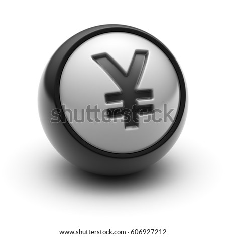 The Yen Icon on The black Ball. 3D illustration.