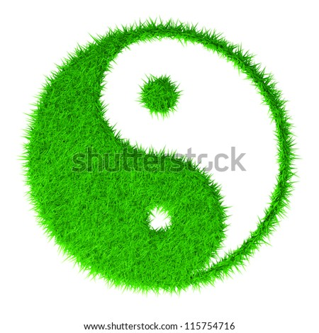 The yin and yang grass sign - stock photo