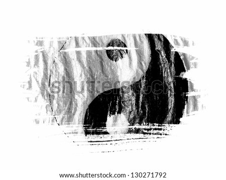 The Ying Yang sign painted on painted with watercolor on wet white paper - stock photo