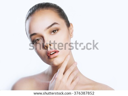 The young, beautiful brunette girl sore throat - stock photo