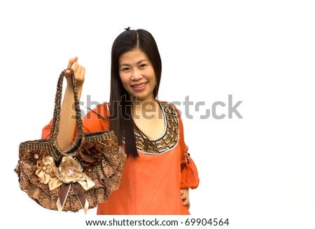 The young beautiful girl with a bag isolated on a white background