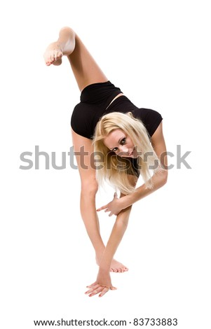 The young beautiful gymnast on training. Isolated on white.