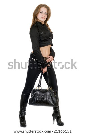 The young beauty woman with a bag. Isolated
