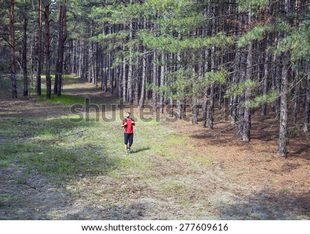 The young boy with a backpack walking in forest - stock photo