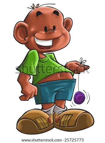 The young boy with a colored yo yo - stock photo