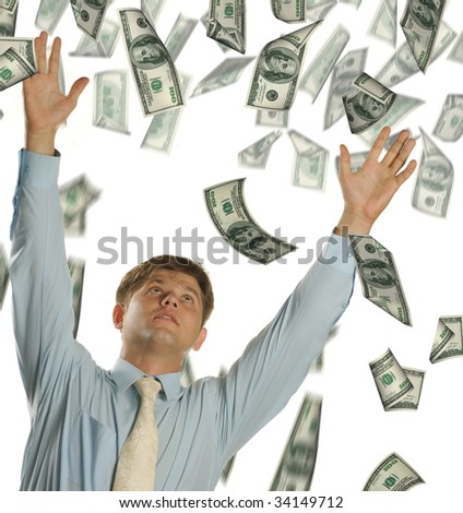 The young businessman falling dollars - stock photo