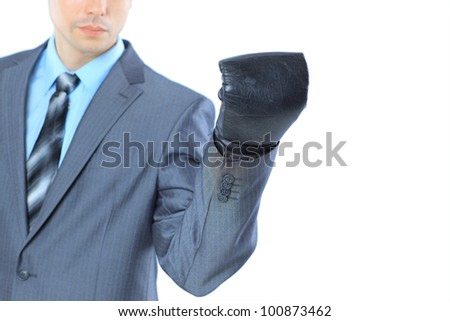 The young businessman in boxing gloves. Isolated on a white background.