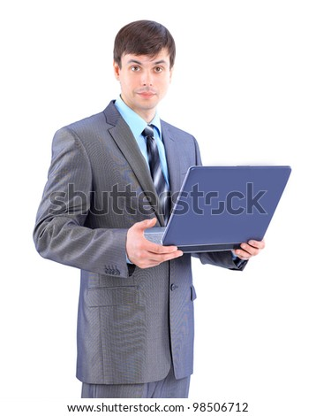 The young businessman. Isolated on a white background.