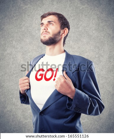 The young businessman motivates to go - stock photo