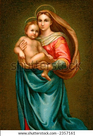 The young Christ Child and His mother Mary - an early 1900's vintage illustration - stock photo