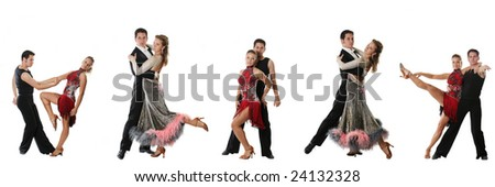 The young elegant couple dances together dance - stock photo
