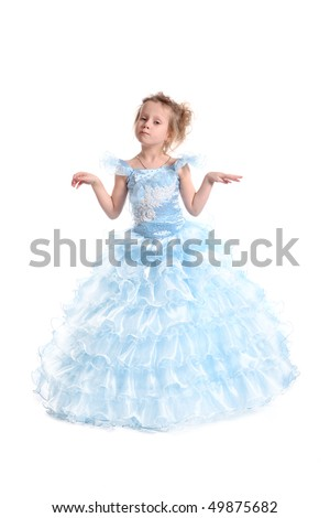 The young fine girl (child) shows the blue dress