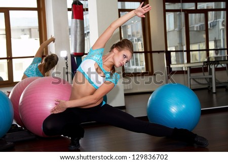 The young girl is engaged in fitness