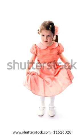 The young girl on a white background. - stock photo