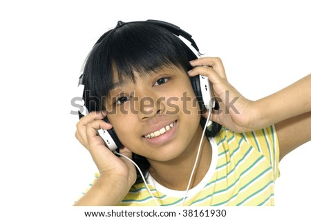 The young girl with a headphones isolated