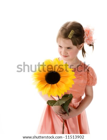 The young girl with a yellow flower on a white background. - stock photo