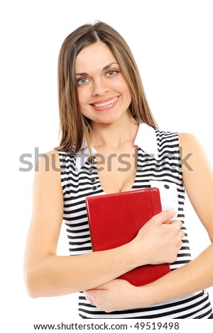 The young girl with long hair and the book on a white background
