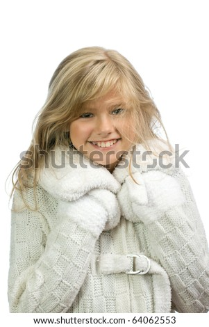 The young happy girl is isolated on a white background