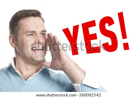 The young man announces declares: yes - stock photo