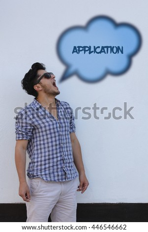 The young man says in the speech bubble from his mouth Application. - stock photo