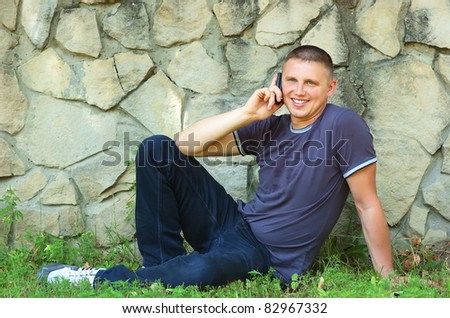 The young man with phone