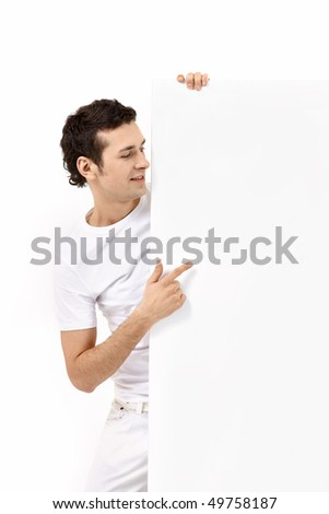 The young man with the empty form on a white background - stock photo