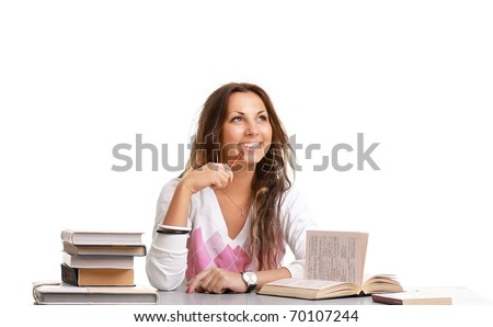The young student girl with the books isolated on a white background - stock photo