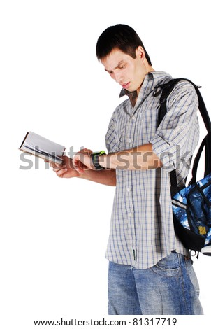 The young student isolated on a white background