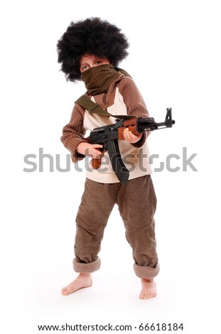 The young terrorist with assault rifle on a white background. - stock photo