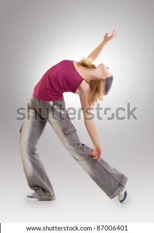the young woman dancing jazz modern dance - stock photo