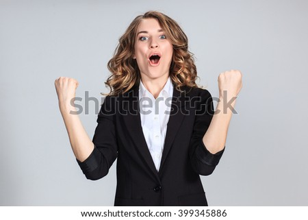The young woman's portrait with happy emotions - stock photo