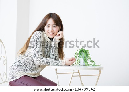 The young woman who is relaxed