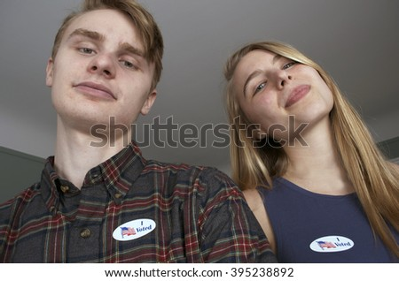 "The Youngest Voters Wearing ""I Voted"" Stickers - stock photo"