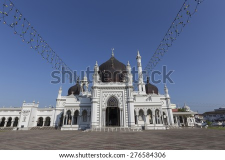 The Zahir Mosque is Kedah's state mosque. It is located in the heart of Alor Star, the state capital of Kedah, Malaysia. It is one of the grandest and oldest mosques in Malaysia, built in 1912.  - stock photo